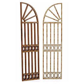 Cancello a scalare in legno per presepe 2 pz 15x13 cm s2