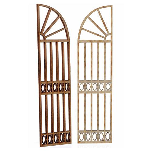 Cancello a scalare in legno per presepe 2 pz 15x13 cm 2