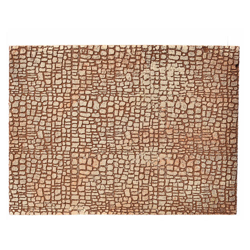Nativity scene backdrop, cork panel with stone drawing 24,5x33cm 1
