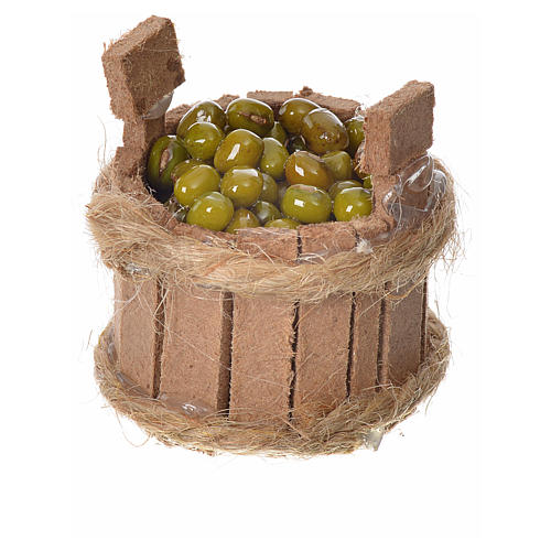 Nativity accessory, wooden tub with olives, H3.5cm 1