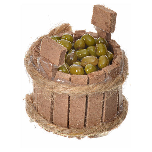 Nativity accessory, wooden tub with olives, H3.5cm 2