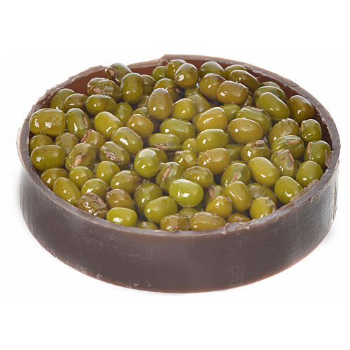 Nativity accessory, plastic box with olives, diam. 5cm 2