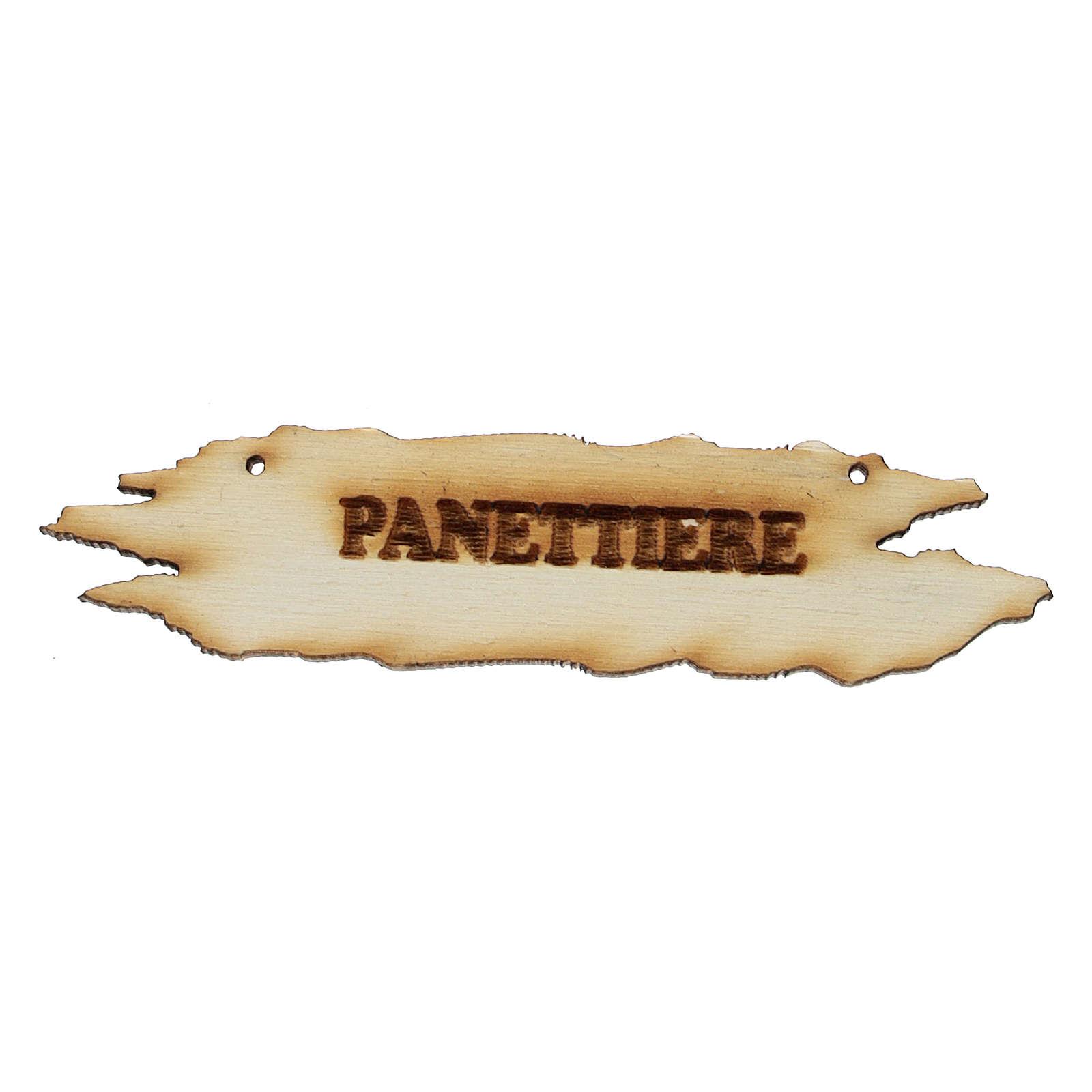 Insegna presepe Panettiere 8,5 cm in legno 4