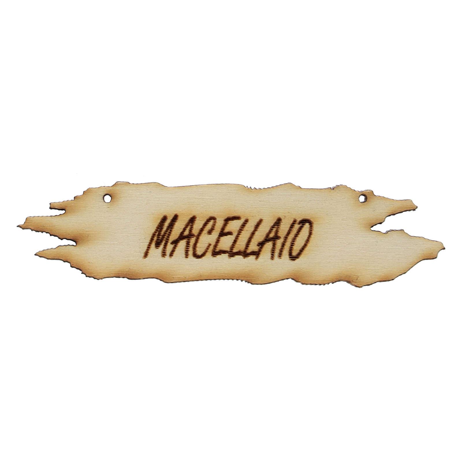Insegna presepe Macellaio 8,5 cm in legno 4