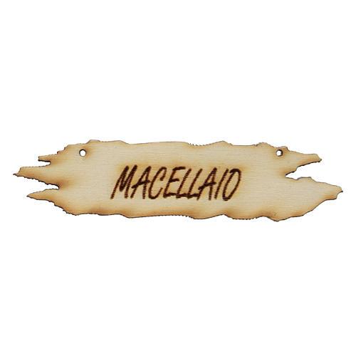 Insegna presepe Macellaio 8,5 cm in legno 1