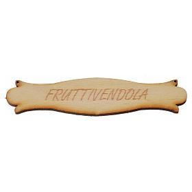 Accessoires maison en miniature: Enseigne Marchande de fruit miniature crèche 8,5 cm bois