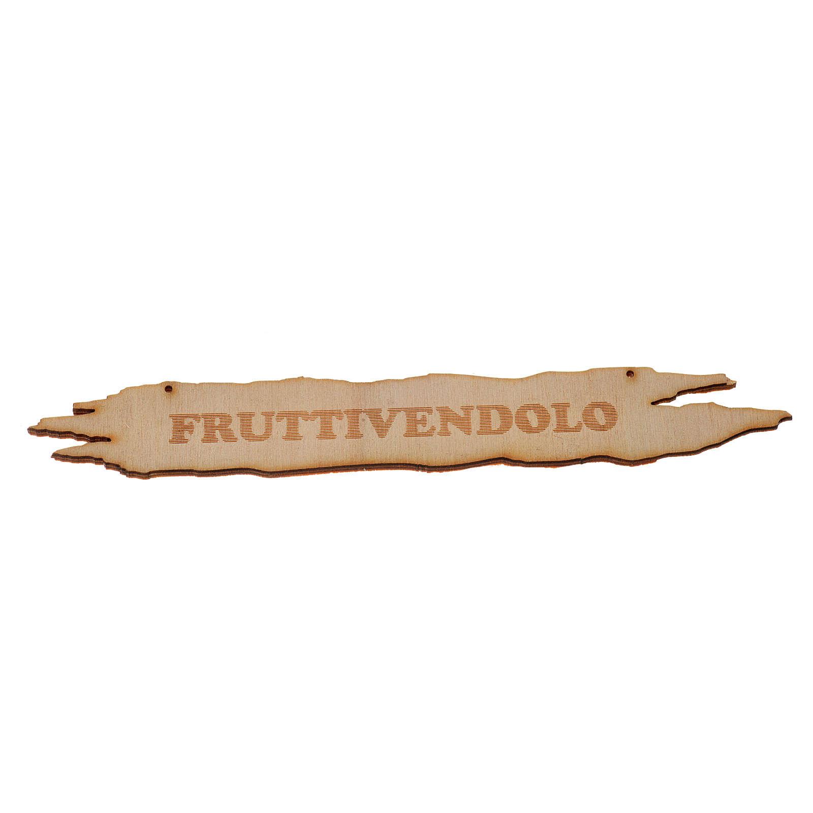 Insegna presepe Fruttivendolo 14 cm in legno 4