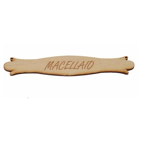 Insegna presepe Macellaio 14 cm in legno 1