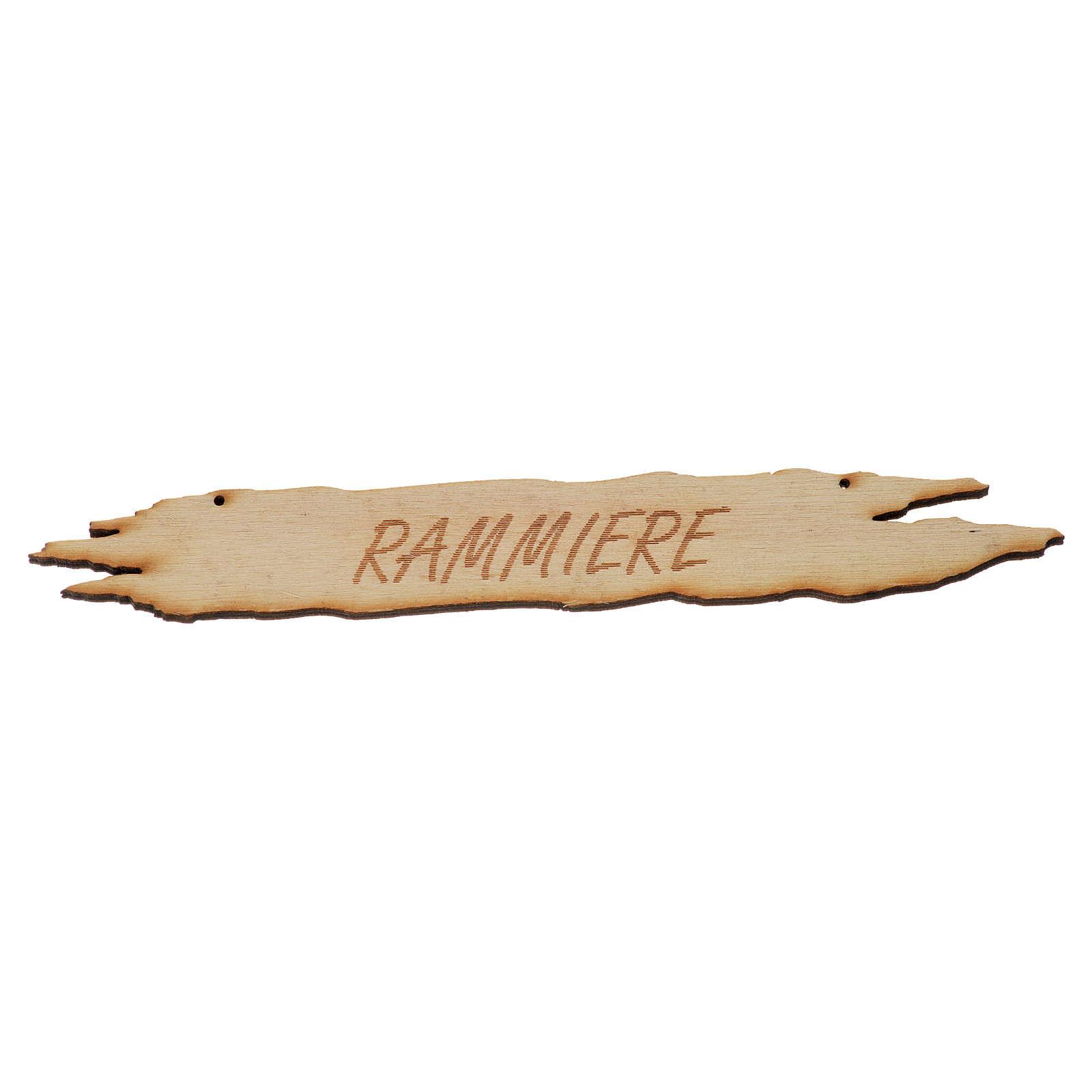 Insegna presepe Rammiere 14 cm in legno 4