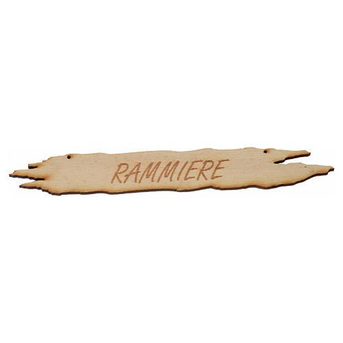 Insegna presepe Rammiere 14 cm in legno 1