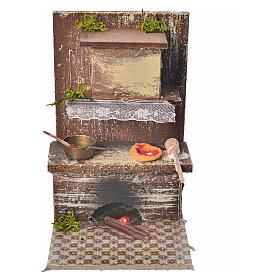 Acessórios de Casa para Presépio: Cozinha com 1 Led vermelho tremulante 9x9,5x15 cm