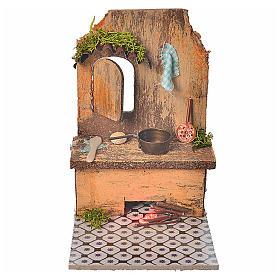 Accessoires maison en miniature: Cuisine avec led rouge  9x9,5x12 cm