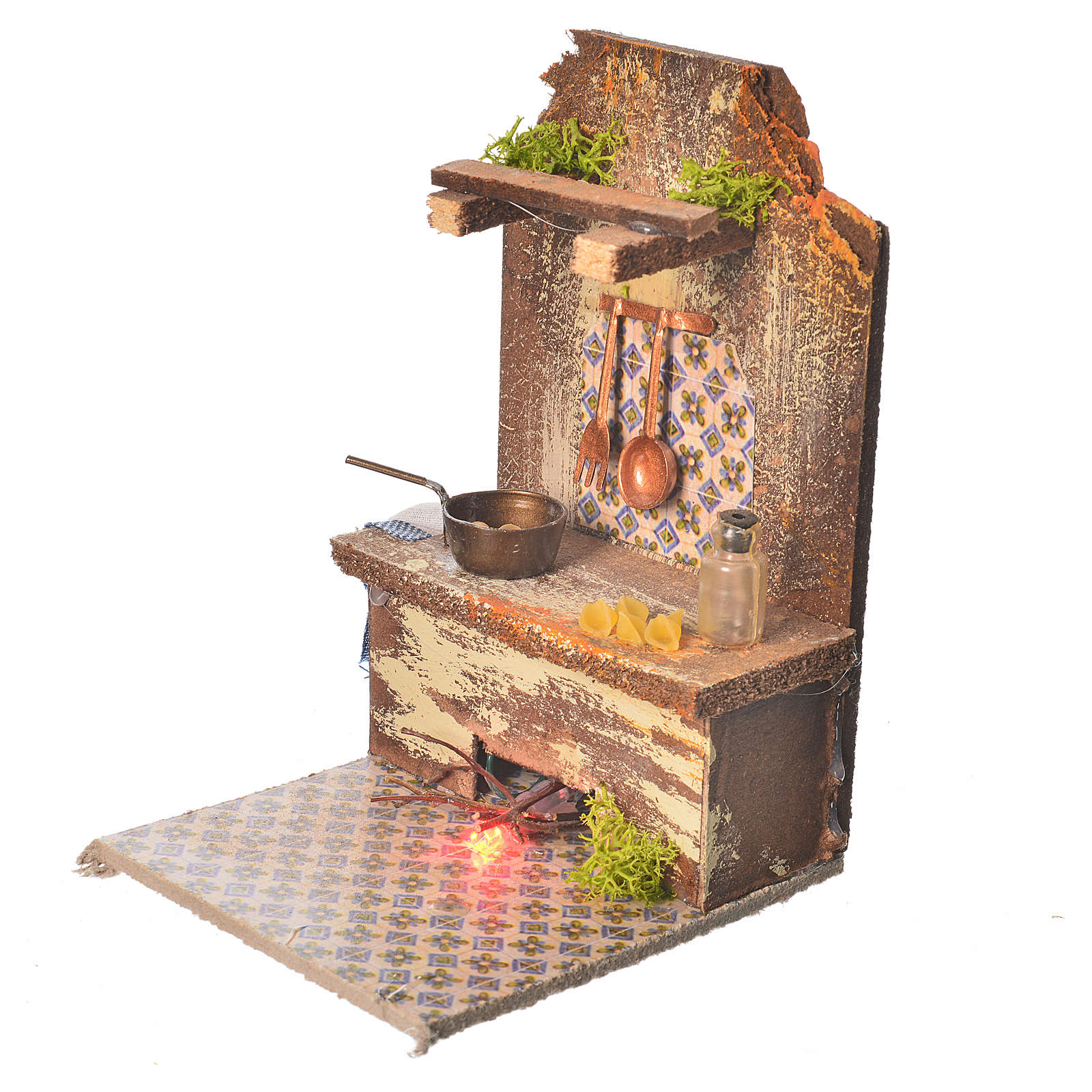 Nativity setting, kitchen with LED light and pasta 9x9.5x15cm 4