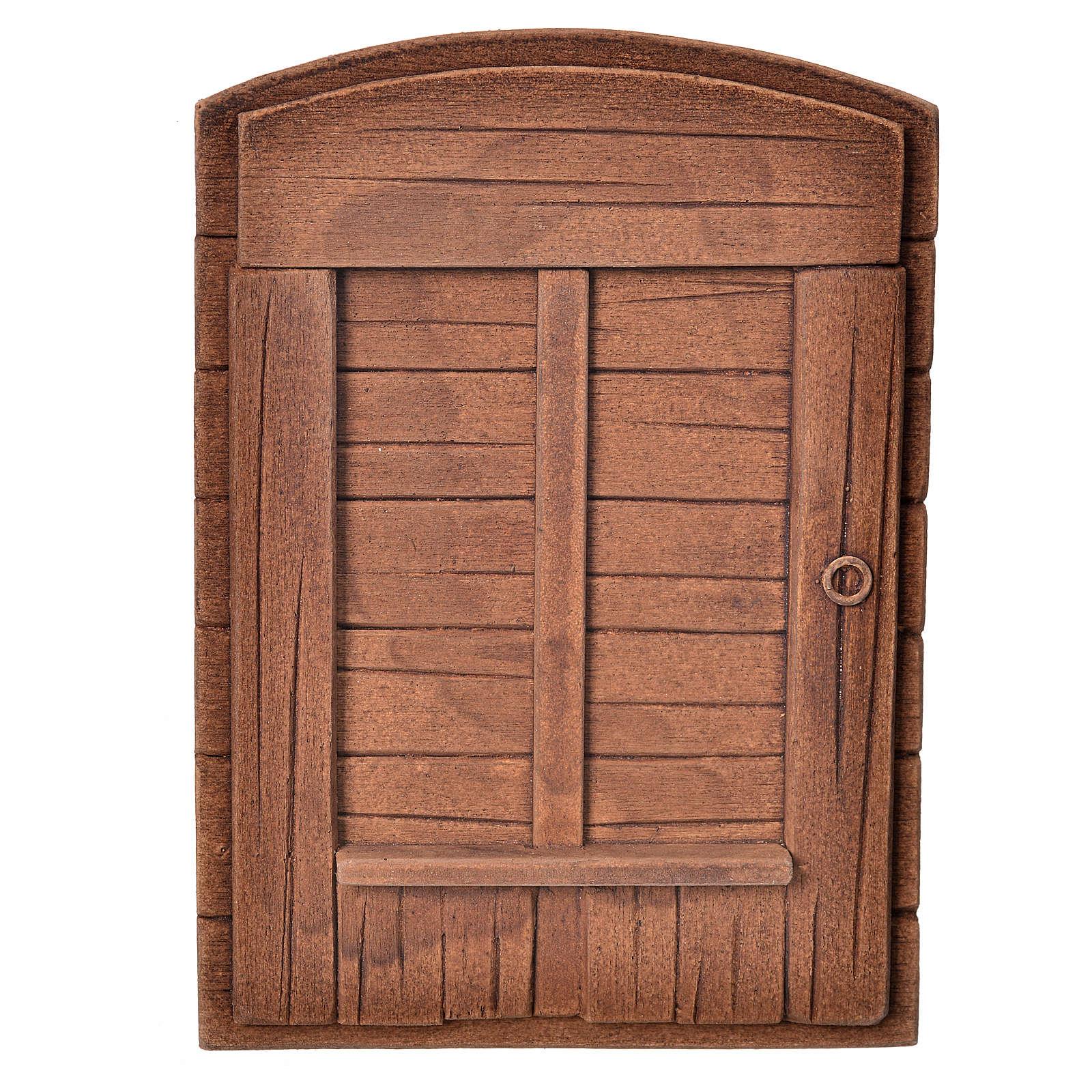 Porta in gesso color legno per presepe fai da te 4