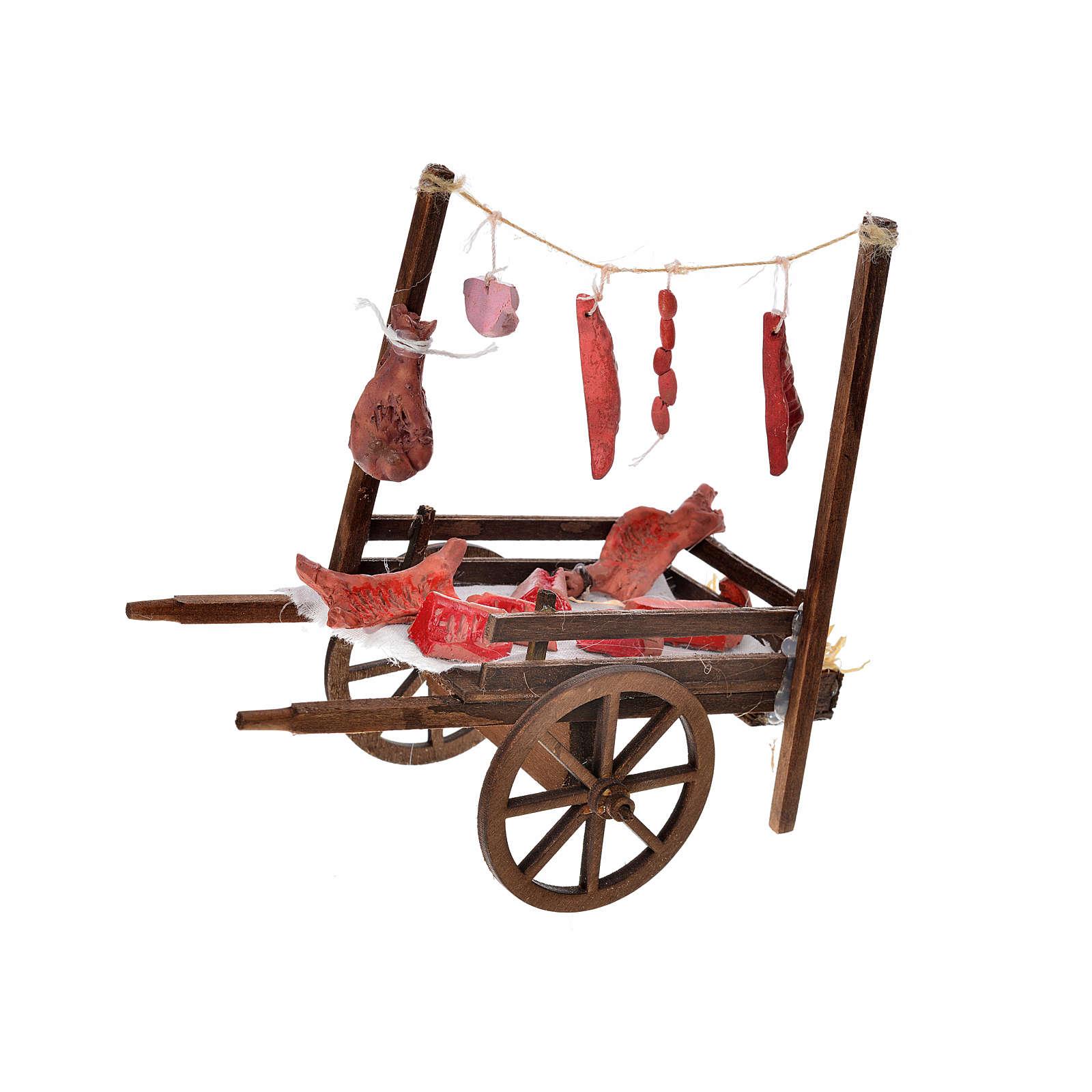 Charrette viande boucher crèche napolitaine 15x18x8 cm 4