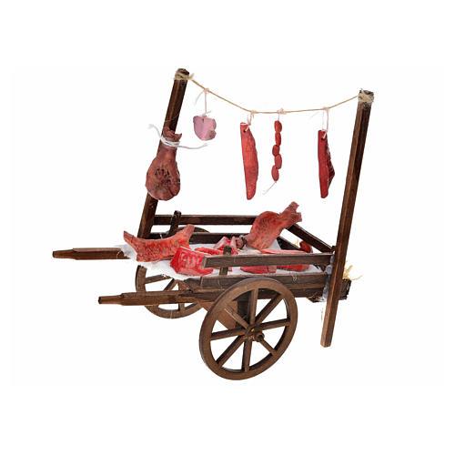 Carretto napoletano carne macellaio terracotta 15x18x8 cm 1