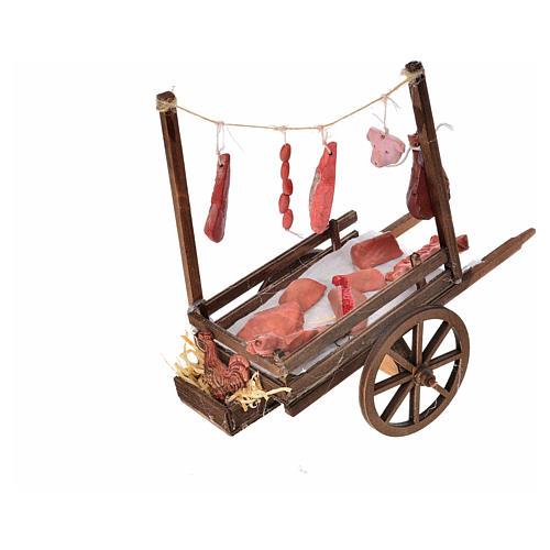 Carretto napoletano carne macellaio terracotta 15x18x8 cm 2