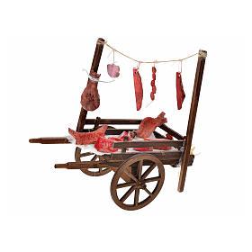 Neapolitan Nativity, terracotta butcher's cart, 15x18x8cm s1