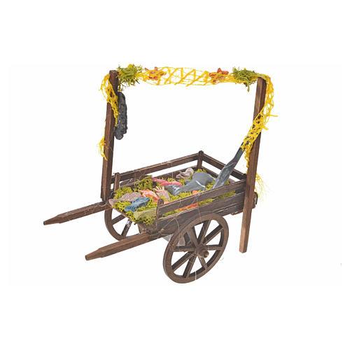 Neapolitan Nativity accessory, terracotta fish cart, 15x18x8cm 1