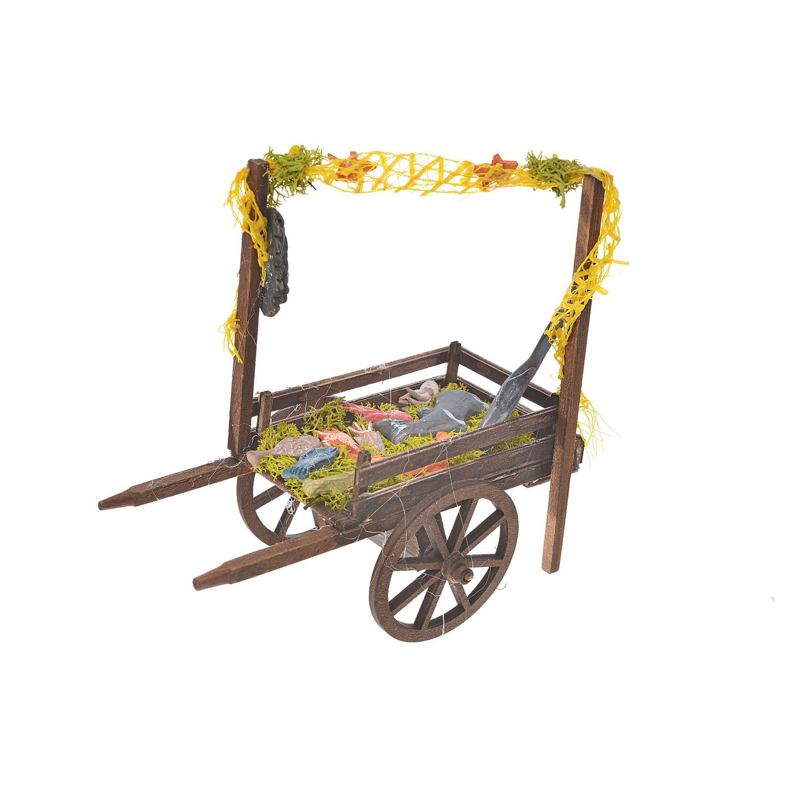 Neapolitan Nativity accessory, terracotta fish cart, 15x18x8cm 4