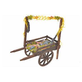 Neapolitan Nativity accessory, terracotta fish cart, 15x18x8cm s1