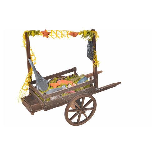 Neapolitan Nativity accessory, terracotta fish cart, 15x18x8cm 2