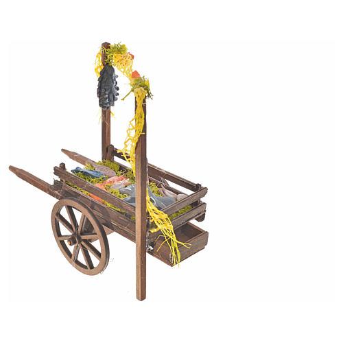Neapolitan Nativity accessory, terracotta fish cart, 15x18x8cm 3