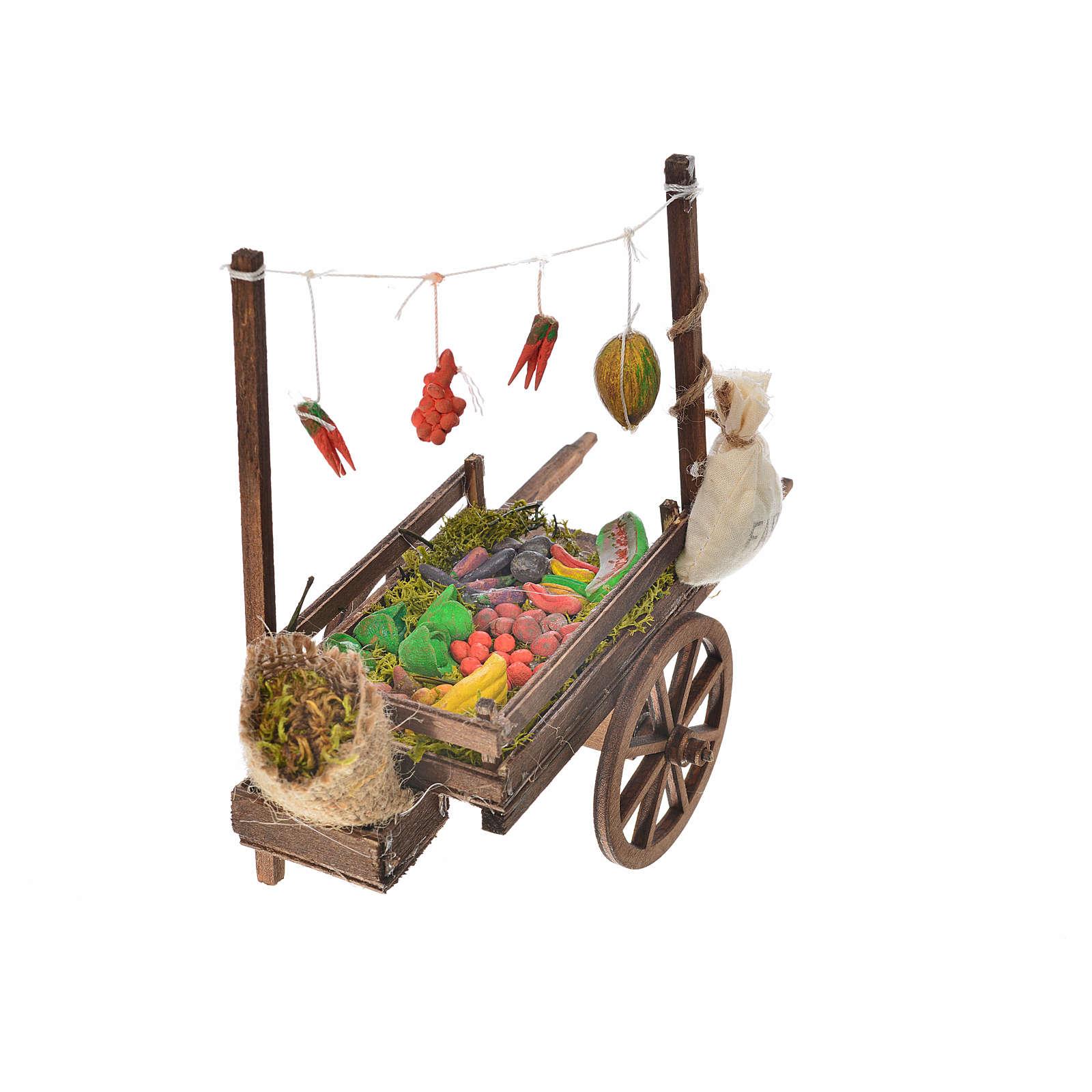 Charrette fruits et légumes crèche napolitaine 15x18x8 cm 4