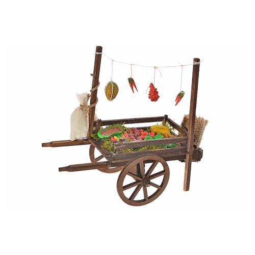 Charrette fruits et légumes crèche napolitaine 15x18x8 cm 1