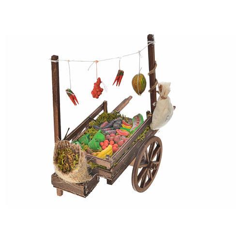 Charrette fruits et légumes crèche napolitaine 15x18x8 cm 3