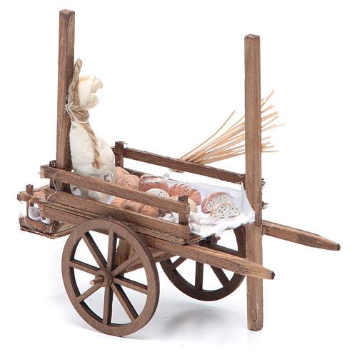 Neapolitan Nativity accessory, bread and cheese cart, terracotta 6