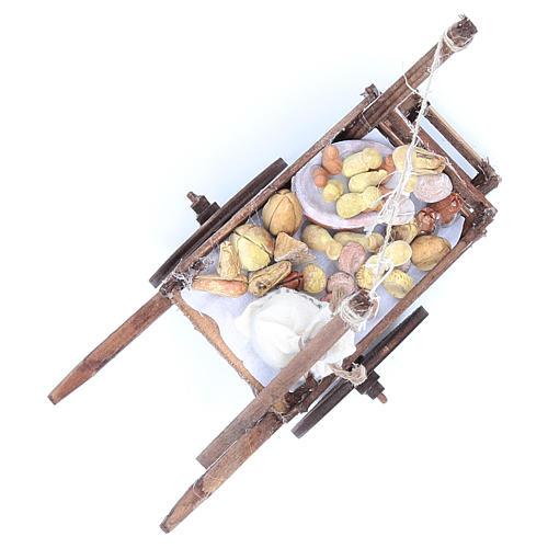 Neapolitan Nativity accessory, bread and cheese cart, terracotta 7