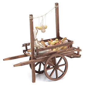 Neapolitan Nativity accessory, bread and cheese cart, terracotta s4
