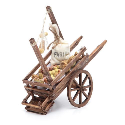 Neapolitan Nativity accessory, bread and cheese cart, terracotta 1