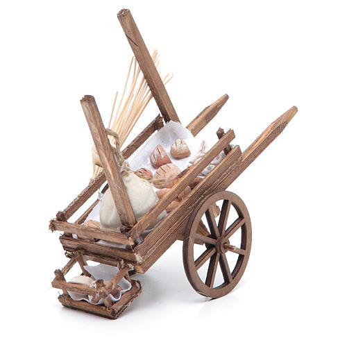 Neapolitan Nativity accessory, bread and cheese cart, terracotta 2
