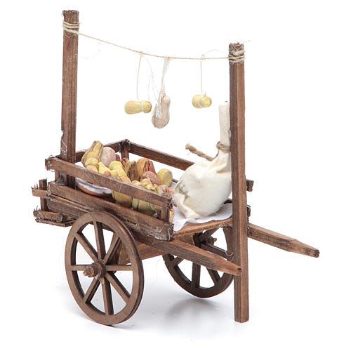 Neapolitan Nativity accessory, bread and cheese cart, terracotta 5