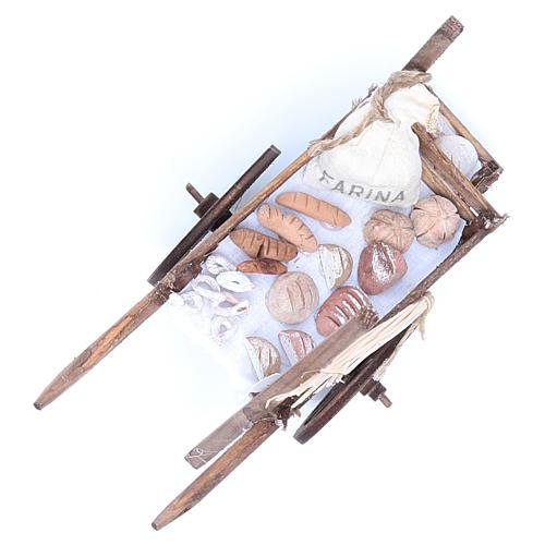 Neapolitan Nativity accessory, bread and cheese cart, terracotta 8