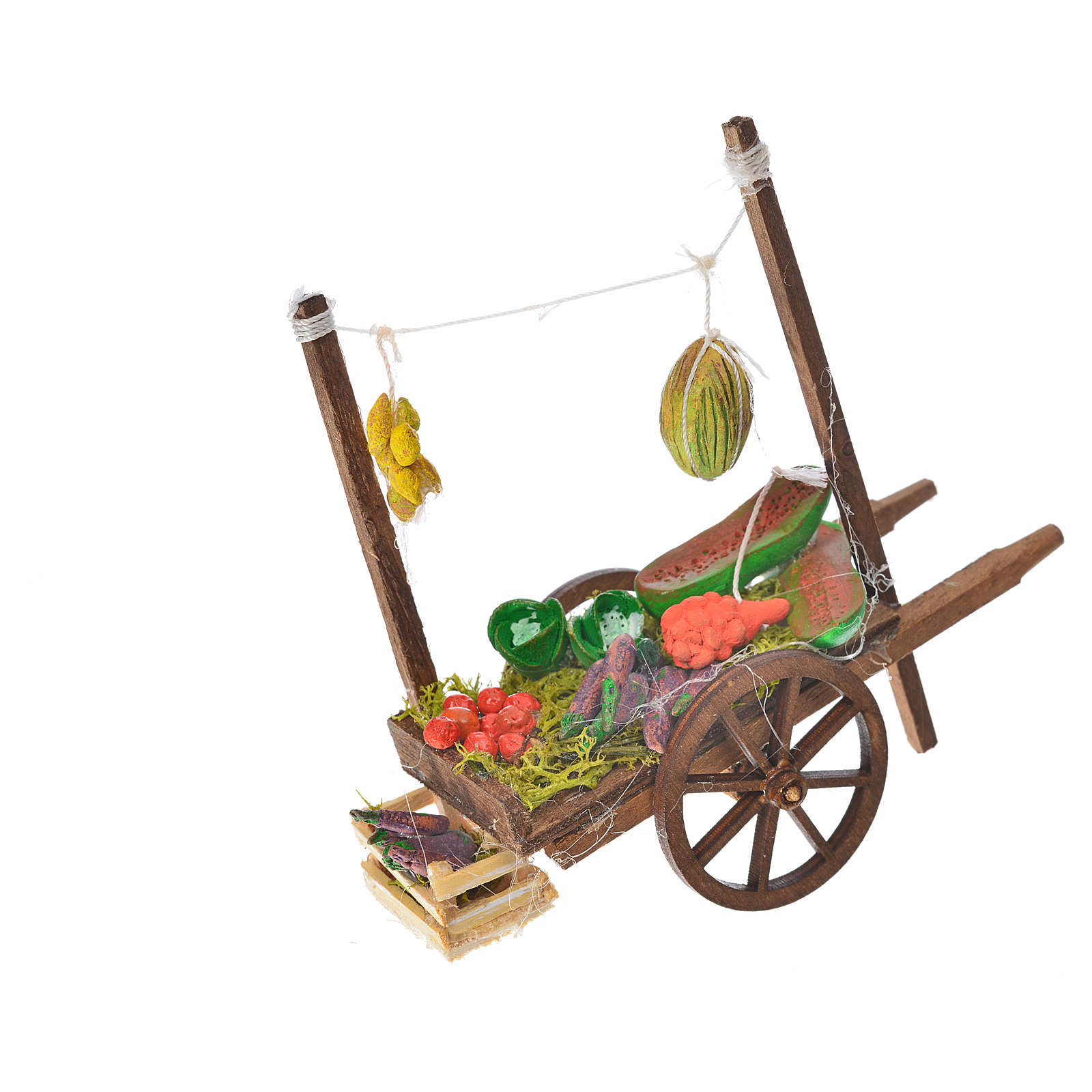 Neapolitan Nativity accessory, fruit and vegetable cart, terraco 4