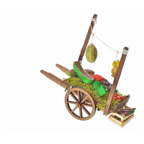 Neapolitan Nativity accessory, fruit and vegetable cart, terraco 2