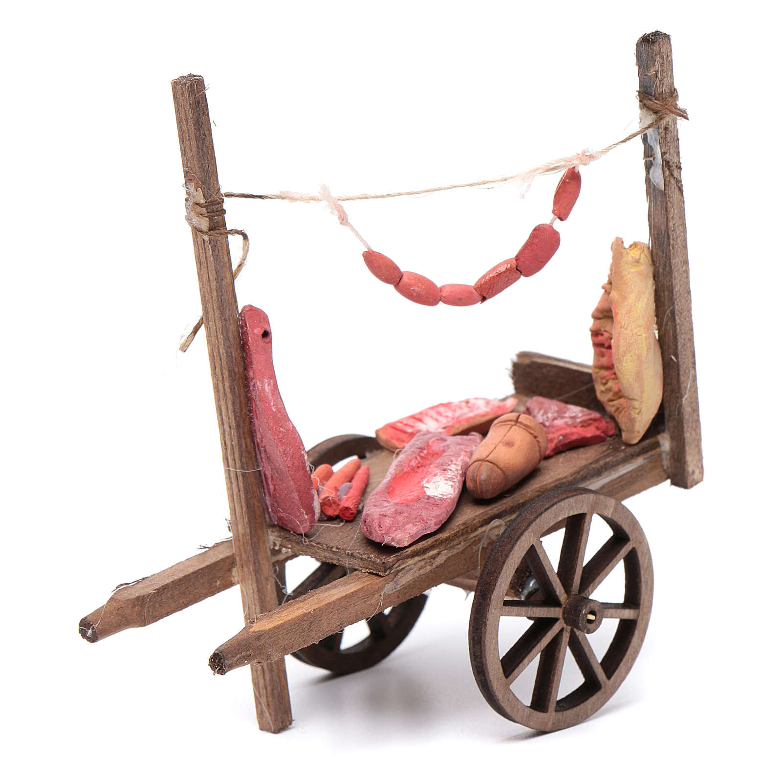 Neapolitan Nativity accessory, cart with meat and sausages 11x11 4