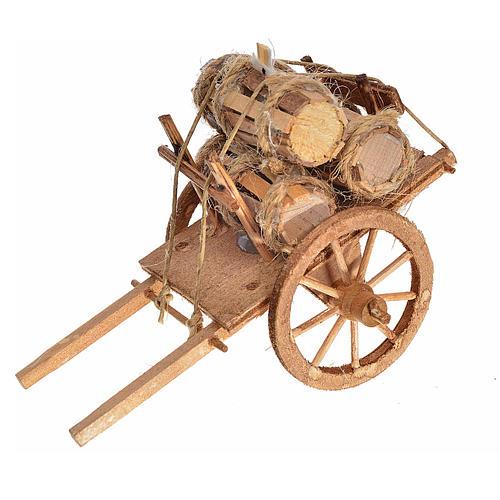 Neapolitan Nativity accessory, cart with casks 8x12x7.5cm 1