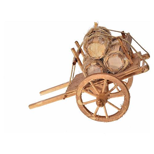 Neapolitan Nativity accessory, cart with casks 8x12x7.5cm 2