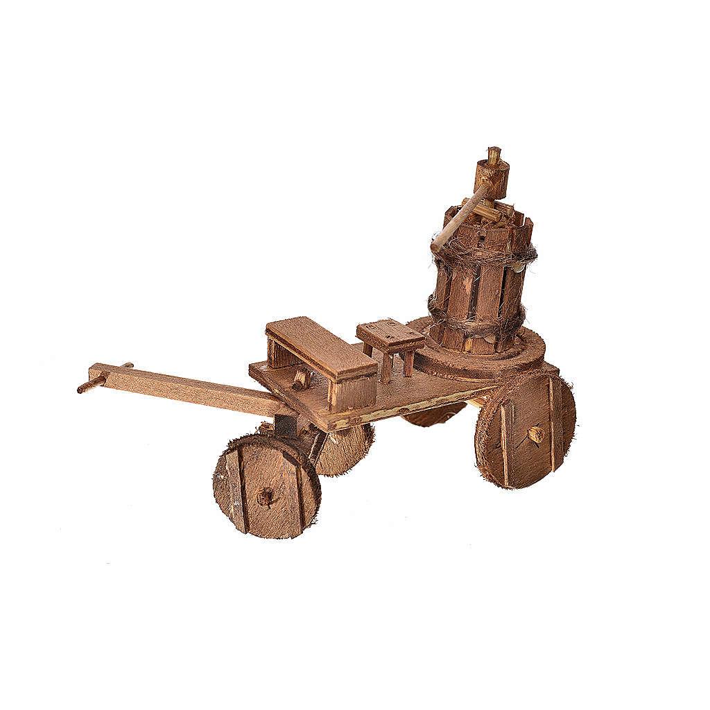 Carretto con torchio presepe napoletano 8x12x7,5 cm 4