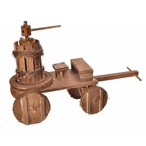 Carretto con torchio presepe napoletano 8x12x7,5 cm 1
