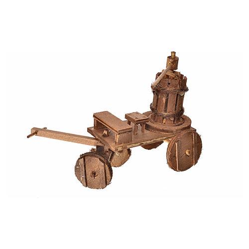 Carretto con torchio presepe napoletano 8x12x7,5 cm 2