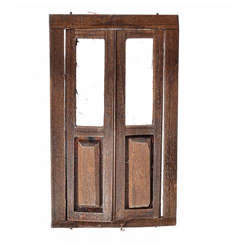 Drzwi dwuskrzydłowe drewno z oknami 11x6.5 1