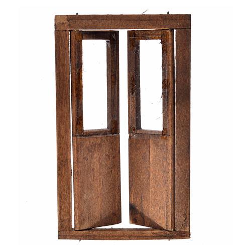 Drzwi dwuskrzydłowe drewno z oknami 11x6.5 2