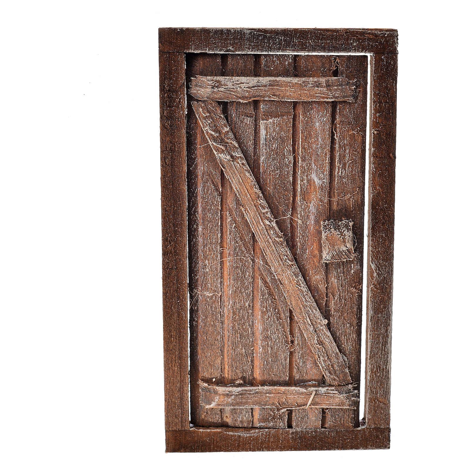 Porte 1 volet avec châssis bois crèche 9x5 cm 4