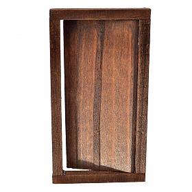 Porte 1 volet avec châssis bois crèche 9x5 cm s4