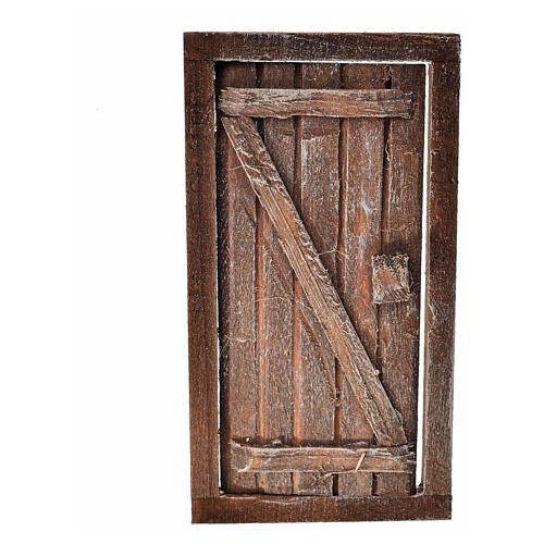 Porte 1 volet avec châssis bois crèche 9x5 cm 3